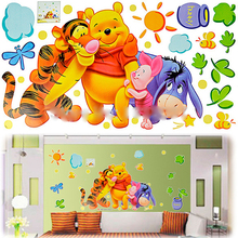 Cartoon Animals Pooh Tigers and Bear Wall Sticker PVC Wall Mural for kids rooms boys girls Home Decor Kids Room wall art decals