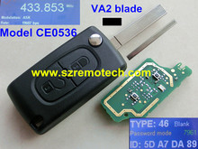 Model CE0536 2 Button Folding Flip Remote Key ASK 433MHz VA2 blade Fit For Peugeot 207 208 307 308 407 408 607 PCF7961/ID46 Chip