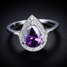 JEXXI Elegant 925 Sterling Silver Purple Water Drop Crystal Rings For Women Fashion Bridal Wedding Anillos Jewelry Nickel Free