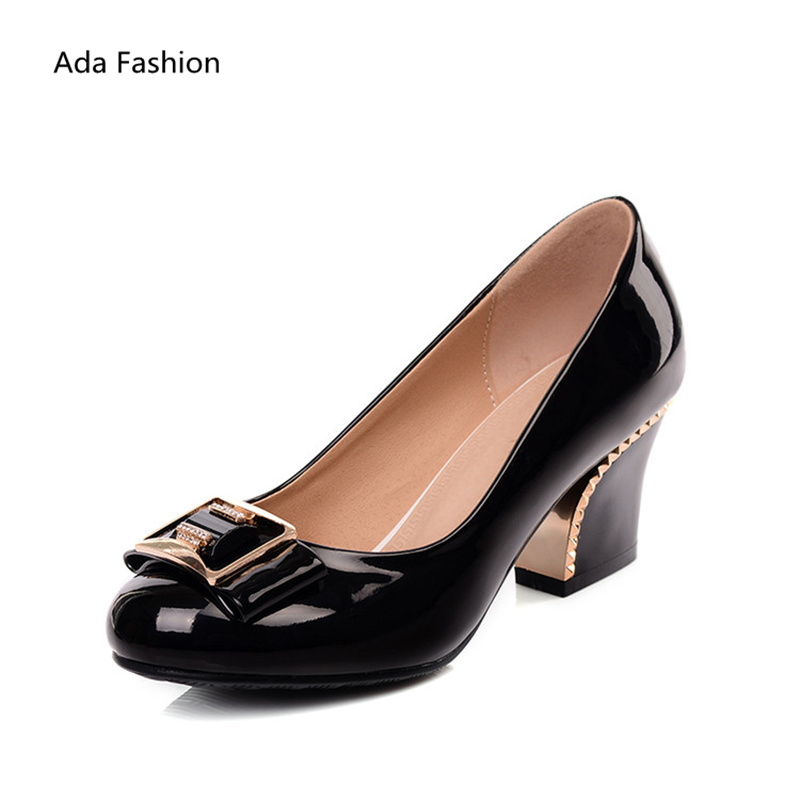 2017 elegant women shoes sapatos femininos thick high heels nude women pumps bridal medium heel shoes red white and black shoes<br><br>Aliexpress