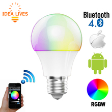 Bluetooth LED Bulb 4.5W E27 RGBW Bluetooth 4.0 Smart LED Light Color Change Dimmable by IOS / Android APP.(China)
