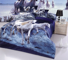 BLUE NEW 4PC DUVET ( DOONA / QUILT ) COVER SET FULL SIZE FS-575 Galloping Horse(China)