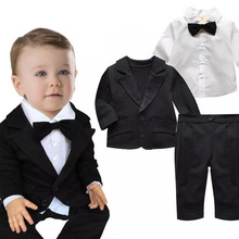 Baby Boys Formal Blazer Suits for Weddings Toddler Jacket+Blouse+Pants 3 pieces/set Costume Infant Cotton Single Breasted Blazer(China)