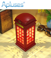 Novelty USB Rechargeable Touch Telephone Booth LED Night Light Adjustable Lighting Decoration Table Lamp(China)