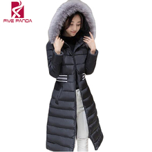 FIVE PANDA 2016 New Winter Fur Collar Cotton-padded Jackets  Womens Thick Warm Parka Long Black  Ladies Winter Coat NMY024