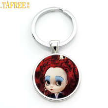 TAFREE women men keychain Alice In Wonderland jewelry White Rabbit Mad Hatter cartoon key chains holder for car purse bag CT03
