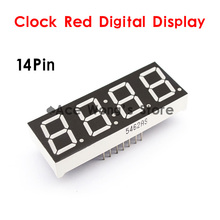 "Free shipping (5Pcs/lot) 0.56"" inch 4 Digits 7 Seven Segment 14 Pin Clock Red LED Numeric Digital Display,Common Cathode(China)"