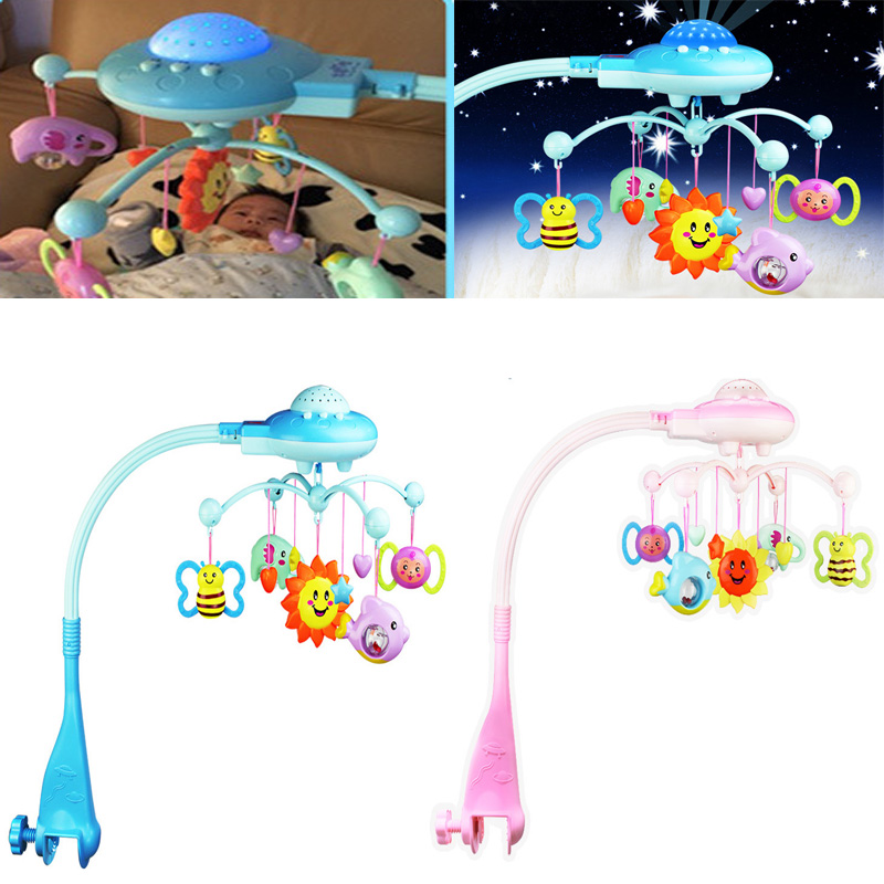 2017 New Blue&amp;Pink Baby Rattle With Stars Rotating Music Projection Bed Bell Newborn Kid Christmas Birthday Gift Childrens Toys<br><br>Aliexpress