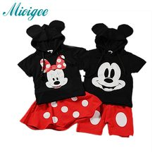 Children's clothing sets summer baby boys girls cartoon Mickey short-sleeve tops + shorts twins kids  set 1-8 years old