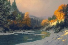 Free shipping! Autumn Snow Thomas Kinkade HD Canvas Print Living Room Bedroom Wall Pictures Art Painting Home Decoration(China)