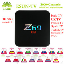 [WeChip] Z69 With 1 Year ESUNTV 3000+Europe IPTV Andriod 7.1 TV Box 2.4G Wifi 10/100M S905X Set Top Box 3/32GB Media Player