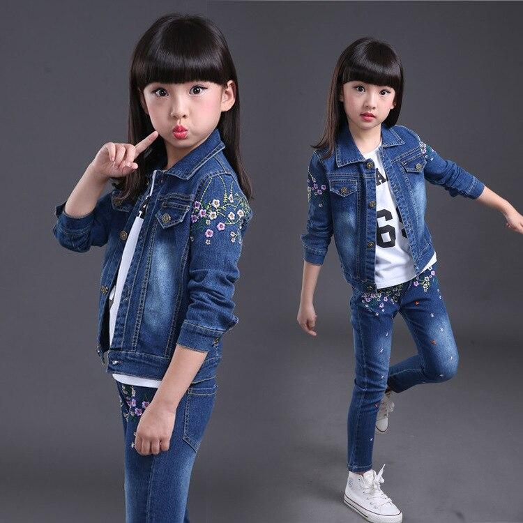 kids tracksuit 2017 Autumn Kids Clothes Cowboy Suit 3pcs Girls Outfits Jeans Sport Clothing Children Set 4-14 Years Boys Clothes<br>