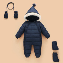Baby Winter Outerwear Retail Baby Clip Cotton Thick Padded Gloves shoes Jacket Rompers Kids Parkas Suitable 0-24 Month Baby