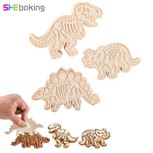 Shebaking 3pcs/set Dinosaur Cookie Cutter DIY Fondant Cake Decorating Tools 3D Sugarcraft Biscuit Dessert Baking Mould(China)