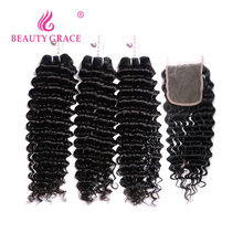 Brazilian Peruvian Deep Wave Virgin Human Hair With Lace Closure With Bundles Brazilian Hair Weaving Weave Ali moda Indian Curly Hair With Closure(China)