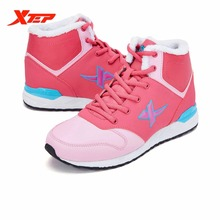 XTEP Brand High Top Winter Boots Shoes ladies girl women Flats Walking sport outdoor sneakers Shoes For women 985318379855