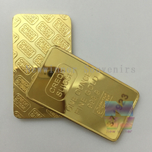5pcs/lot Gold Plated Layered Bullion Bar Ingot Replica coin+ laser number free 1oz CREDIT SUISSE bar Switzerland Fake Gold Bar
