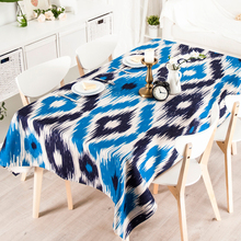 Country Blue Geometry Cloth Rectangle Tea Table Round Table Cloth Tablecloth Cotton Green Pastoral Tea Table Cloth Cover(China)