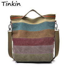 Tinkin Casual Women Canvas Shoulder Bag Simplicity Female Handbag Soft Medium Size Messenger Bag for Teenagers(China)