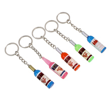 YYW Love Couple Keychain Bag Car Key Ring Clasp Pendant Connected to Mobile Phone Red Wine Beer Bottle Wholesale 4.9cm Keychains(China)