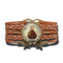 St Francis Vintage Multi-layer Leather Bracelet & Bangle Religious Infinite Jewelry