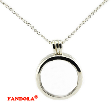 Buy 75CM Chain 925 Sterling-Silver-Jewelry Large Floating Locket Pendant Necklace Compatible Europe Free FLN028 for $24.40 in AliExpress store