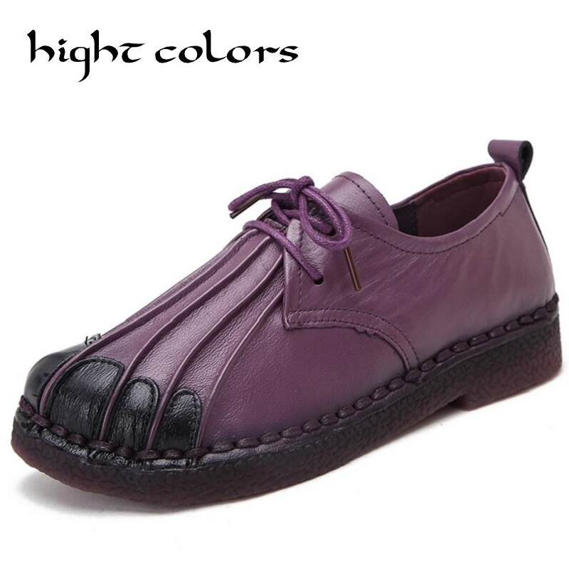Handmade Vintage Women Shoes Genuine Leather Female Moccasins Loafers Soft Comfortable Casual Shoes Flats Size 40<br>