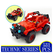 51001 531PCS Technic Series Race Car Jeep Red Model Building Blocks Bricks Action Figures Children Gifts Compatible With LEPIN