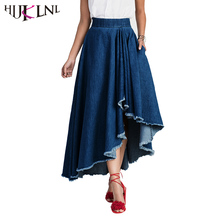 HIJKLNL Fashion High Waist Irregilar Denim Long Skirt 2017 Woman Solid Tassel Jean Pleated Lolita Maxi Skirt jupe cuir NA100
