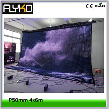 4x6m Pixel5 led led moving video display 3in1 lights flexible video curtain wall with flight case