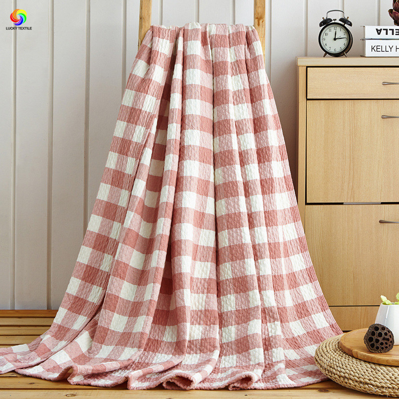 LUCKY TEXTILE Japan style red grid blanket washed cotton gauze towel blankets bed cover Summer comforter bedspread full queen<br>
