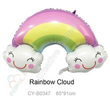 Jumbo Size 91*65cm Rainbow Cloud Balloons Birthday Party Decorations Kids Toys Marriage Decorations Helium Ballon(China)