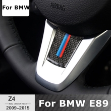Carbon Fiber Car Steering Wheel Sticker M stripe Emblem Stickers for BMW Z4 E89 2009-2016 M Performance Logo Xdrive Car Styling