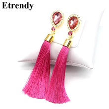 Crystal Water Drop Tassel Long Earrings For Women Fashion Jewelry Classic Red Black Blue Green White Hot Pink Fine Gifts