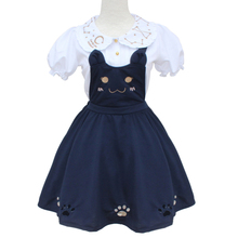 Soft Sister Cute Dresses Japan HARAJUKU Gothic Lolita Navy Blue Preppy Style Dress Women Mori Fresh Cat Dress