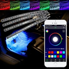 Car RGB Multi-color LED Strip Light Decorative Atmosphere Lamps Car Interior Light For Phone APP Bluetooth Remote Control