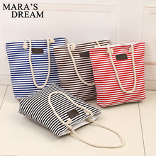 Mara's Dream Fashion Canvas Unisex Stripe Women Zipper Handbag Strap Coffee Shopping Bag Shoulder Bag Lady Bags