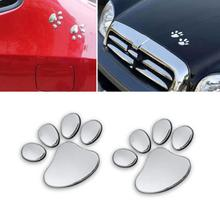 2 Pieces Car Sticker 3D Animal Dog Cat Bear Foot Prints Footprint Cool Design Paw 3D Car Stickers Silver Gold Hot Drop Shipping(China)