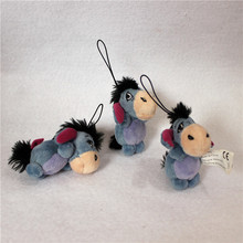Free shipping 10pcs/lot 7cm Eeyore Donkey Plush Pendant Soft Toys For Bouquets mini Donkey Eeyore Toys For Keychain