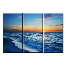 xh2044 3 Pcs/Set Large Abstract Rising Sun Wave Canvas Print Painting Modern Still Life Sun with Sea Wall Art Picture Home Decor