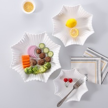 White plate dish creative Western-style food steak fish dishes snacks square plate flat ceramic tableware(China)