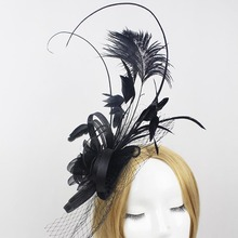 Ladies fascinators Black flower feather sinamay hats women hair accessories elegant fascinators for wedding party and races