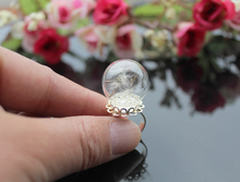 1PC 20MM Glass Bubble Dandelion Ring,Real Dandelion Seeds Ring,Make a Wish Ring,glass dome statement ring- dandelion wishes