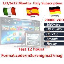 IPTV subscription 1/3/6/12 Months for Android TV Box smart tv mag device+Italy Belgium Germany UK EX-YU Spain IPTV 3000 live(China)