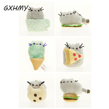 GXHMY Cartoon Soft Pusheen Cat Cushion Plush Toys  For Children Kawaii Animal Cat Rainbow Cute Toys With Food Key Chain