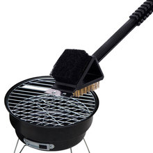 New  3-in-1 Stain Steel Bristle Brush Bbq Grill Steel Scraper Edge Clean Tools  Barbecue Accessories Free Shipping MS221