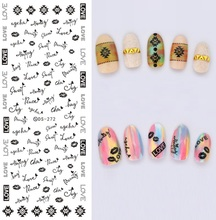 New DIY Design Water Transfer Nails Art Sticker Beauty Words LOVE Black Nail Wraps Sticker Fingernails Decals Beauty Product