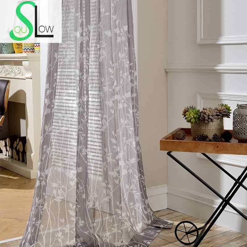 Slow Soul Impression Curtain Quality Fabric Floral Curtains For Living Room Gray Cortinas Tulle Kitchen Bedroom Sheer Perde