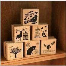 DIY Cute Kawaii Wooden Stamp Animal Cat Dog Bird Tree Stamps Set for Diary Photo Album Christmas Decoration Supplies/Card Making