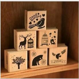 DIY Cute Kawaii Wooden Stamp Animal Cat Dog Bird Tree Stamps Set for Diary Photo Album Christmas Decoration Supplies/Card Making(China)